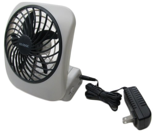 Portable Fan with Battery or Electric, Free AC Adoaptor Included,