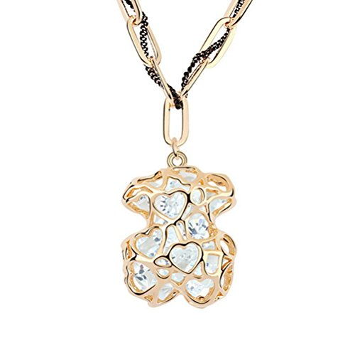 Winter's Secret Vintage Hollow Bear Gold Plated Shining White Zircon Accented Cahrming Pendant Necklace (Baby Starters Lovey compare prices)