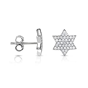 Rhodium Plated 925 Sterling Silver Simulated Diamond Cubic Zirconia Star of David Stud Earrings