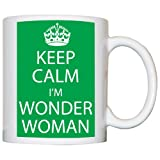 M Print Keep Calm I'M Wonder Woman Mug - Printed In Green - 10oz