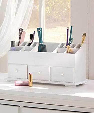 1 X Vanity n Beauty Organizer with Drawers & Storage in White – Cosmetics Organizers