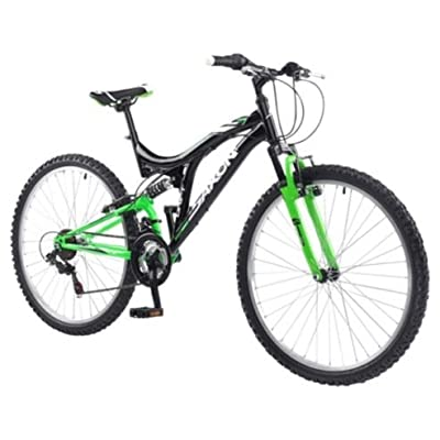 "Saxon Drift 26"" Wheel Mens Dual Suspension Mtb Bike 18 Speed 18"" Frame Black Green"