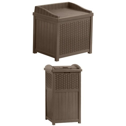 Suncast SSW1200 Mocha Resin Wicker 22-Gallon Storage Seat and Wicker Trash Hideaway Bundle