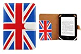 CaseGuru Patriotic United Kingdom UK Flag Protective Wallet Case Holder With Document Sleeve, Corner Strap Security & Magnetic Button Snap Closure for Amazon Kindle Voyage /Kindle Paperwhite + Screen Protector