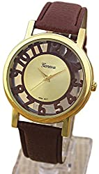 Cameo Number Leather Wrist Watch Womens Geneva Hollow Numbers Watch Fashion Men Women Casual Watches