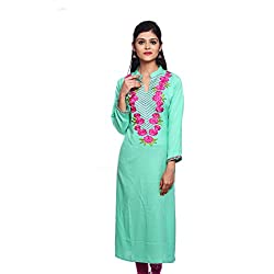 Saamarth Impex Women Cotton Green Color Embroidery Work Collar Neck Long Straight Style Kurti SI-2891
