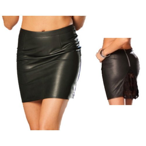 ELEGANT MOMENT L6808 Leather pencil skirt  lace
