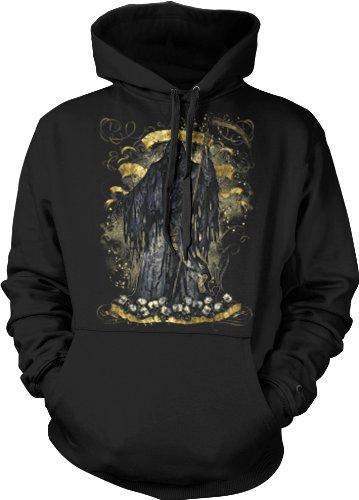 Grim Reaper Cross Sweatshirt, Men'S Old School Death Tattoo Hoodie, Large, Black