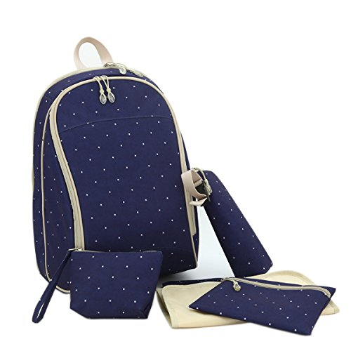Damero 5Pcs/Set Diaper Backpack (Dark Blue With Dots)