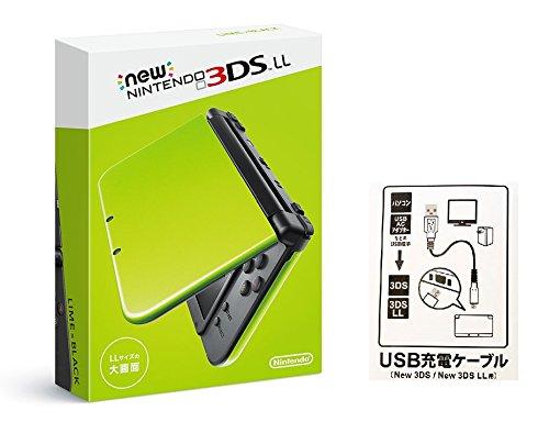 【Amazon.co.jp限定】 【New3DS / LL対応 USB充電ケーブル付】Newニンテンドー3DS LL ライム×ブラック