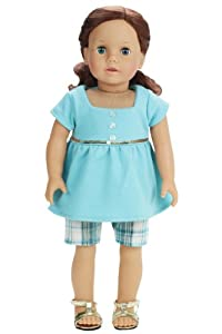 18 Inch Doll Clothes/Clothing 2 Pc. Doll Outfit Set Fits American Girl Dolls -Plaid Walking Doll Shorts & Baby Doll T