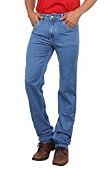 Light Blue Colored Stretchable Silky Denim From Bottoms For Men-36