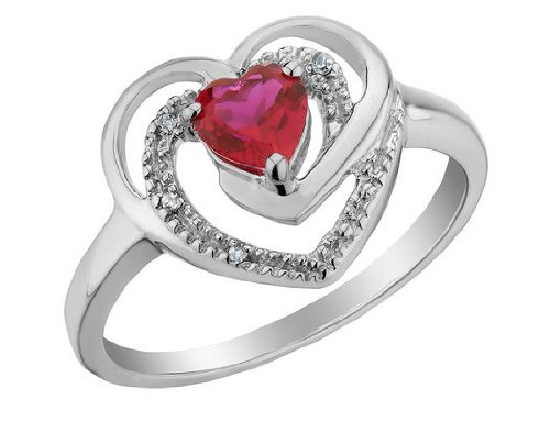 Created Ruby Heart Ring with Diamonds 2/5 Carat (ctw) in Sterling Silver, Size 7.5