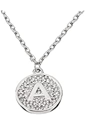 """Sterling Silver Initial Pendant Necklace Letter A with CZ and 18"""" Silver Chain"""