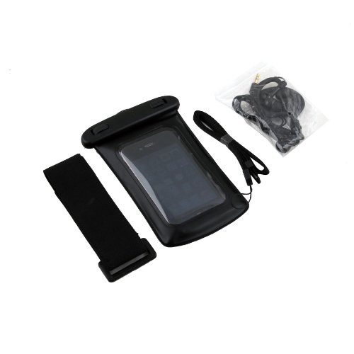 Black Waterproof Case Bag + Earphone For Iphone 4S 4G 3Gs Ipod Touch Pda Phone