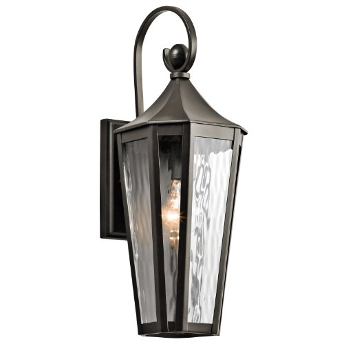 Kichler Lighting 49512Oz Rochdale 1Lt 19In Exterior Wall Lantern, Olde Bronze Finish With Clear Vertical Rain Glass
