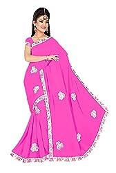 Shiv Fashion Women's Georgette Saree (CUTE_Pink_Freesize)
