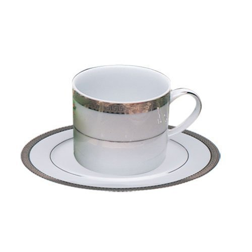 Ten Strawberry Street Luxor Platinum - 6 Oz Cup And Saucer - Set Of 6 by 10 Strawberry Street