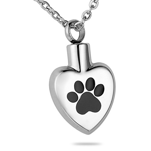HooAMI Dog Paw Print Heart Pet Cremation Ashes Urn Necklace (Urn Necklaces For Dog Ashes compare prices)