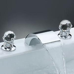 ouku deck mount two handle widespread waterfall bathroom
