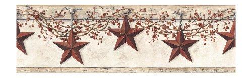 York Wallcoverings Best Of Country Hk4664Bd Hanging Star Border, Off White/Khaki front-287257