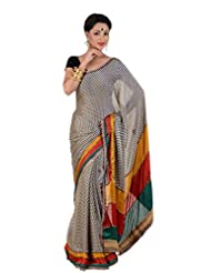 B3Fashion Printed Navy Blue Silk Saree With Beautiful And Colourful Striped Border And Pallu With Gota Lace Work...
