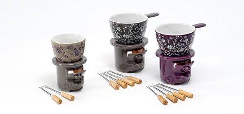 """'Service à Fondue """"ORNAMENT, de 2motifs différents, Céramique, avec 4fourchettes à fondue"""