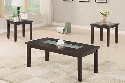 3-Pcs Accent Table Set with Asymmetrical Center (Brown Coffee Table Set compare prices)