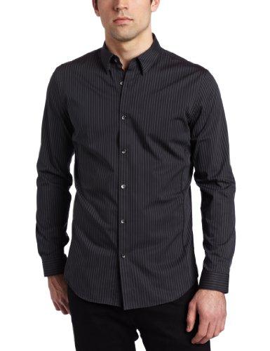 Calvin Klein 男士 Slim-Fit Pinstripe 修身衬衫图片