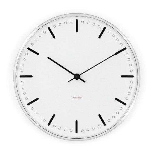 Rosendahl Copenhagen Arne Jacobsen City Hall Wanduhr, Uhr, Analog, Japanisches Uhrwerk, Gewölbtes Mineralglas, Aluminiumgehäuse, Weiß und Schwarz, Ø 21 cm, RDAJ043631