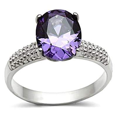 SALE WHILE STOCK LASTS Ladies Beautiful Swarovski Elements 10mm Amethyst Sterling Silver Ring. Lovely Split Side Setting. Crystals Brilliant Rounds. Stamped 925. Luxury Gift Pouch Included