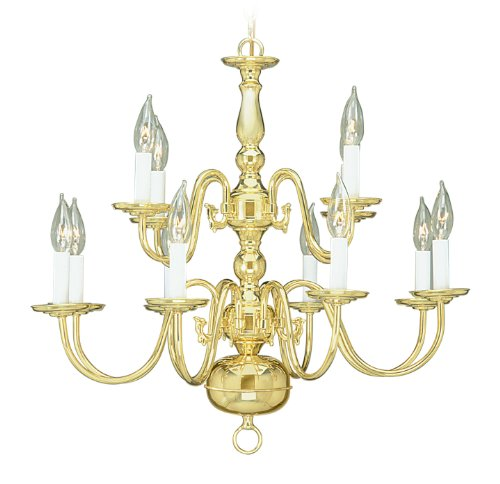 Livex Lighting 5012-02 Williamsburg 12 Light Two Tier (8+4) Polished Brass Chandelier Livex Lighting B00563Z146