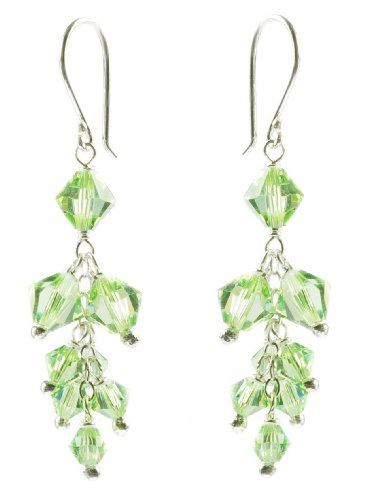 Sterling Silver Swarovski Elements Peridot Colored Bicone Cluster Drop Earrings