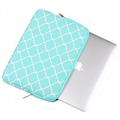 ラップトップスリーブ  Mosiso  四葉 / モロッコ トレリス スタイル キャンバス布地 13-13.3 インチ iPad Pro 12.9/ノートパソコン / MacBook / MacBook Pro / MacBook Air スリーブケース バッグカバー ( ホットブルー)