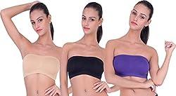 PIFTIF Women's Strapless Non-Padded Bra (SKIN_PURPLE_BLACK__Large)