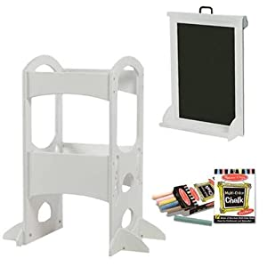 Little Partners LP00404ESLC Soft White Learning Tower With Matching Art Easel and Chalk