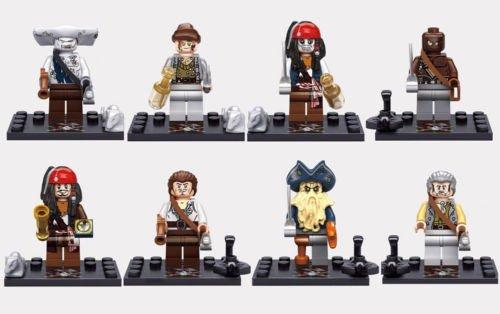 8 Set Pirates Minifigures Lot Building Blocks Toy Jack Sparrow Davy Jones Maccus 2a