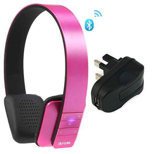 Ikross Pink Bluetooth 4.0 Stereo Headphone Headset With Microphone + Uk Usb Travel Charger Adapter For Samsung Galaxy Tab S 10.5/ 8.4, Galaxy Tab 4 (10.1/ 8.0/ 7.0 Inch) And More