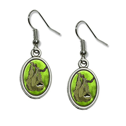 Sloth Watercolor Novelty Dangling Drop Oval Charm Earrings