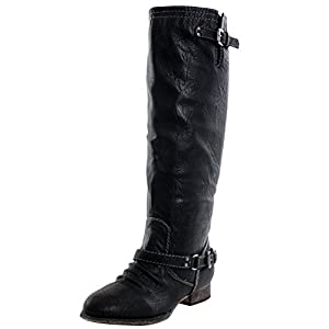 Breckelles Outlaw-11 Women's Ankle Strap Tall Riding Boots