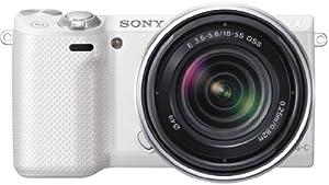 Sony NEX-5RKW kompakte Systemkamera (16 Megapixel,  7,6 cm (3 Zoll) Touchscreen, Full-HD, WiFi) inkl. SEL 18-55mm Zoom-Objektiv weiß