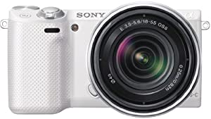 Sony NEX5RKW Compact System Camera Zoom Kit - White (16.1MP, SEL 18-55mm Lens) 3 inch LCD Screen (discontinued by manufacturer)