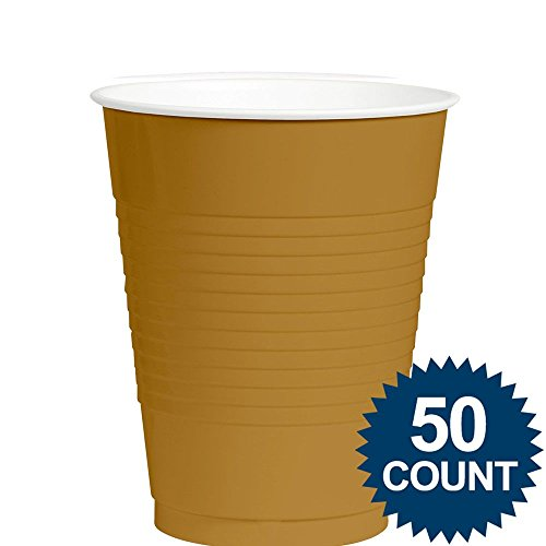 Amscan Big Party Pack 50 Count Plastic Cups, 12-Ounce, Gold
