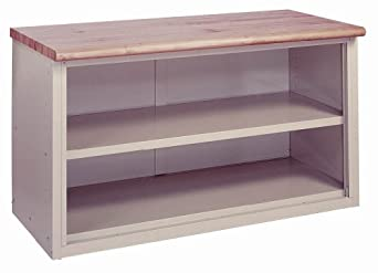 "Lyon BB2838 Pressed Wood Over Steel Top Pre-Engineered Cabinet Work Bench with 1 Shelf, 60"" Width x 28"" Depth x 34"" Height, Wedgewood Blue"