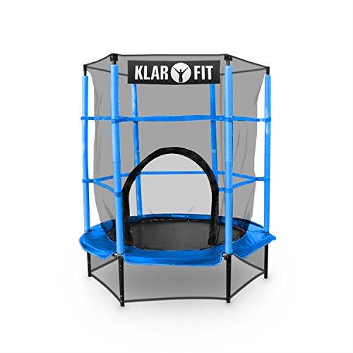 Klarfit Rocketkid Tappeto Elastico trampolino per bambini (140 CM, Rete di Sicurezza, aste imbottite, kit montaggio) blu