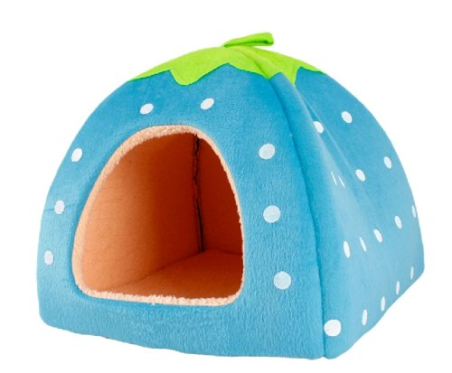 Umiwe(Tm) Blue Soft Sponge White Dots Strawberry Pet Cat Dog House Bed With Warm Plush Pad(Xl Size) With Umiwe Accessory