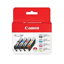 Canon CLI-221 2946B004 4-Color Value Pack in Retail Packaging-Black/Cyan/Magenta/Yellow