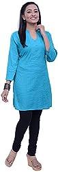 NavRachna Women Turquoise Cotton Straight Cut Short Kurti with all over Pintucks (NV20_71-TURQ_36)