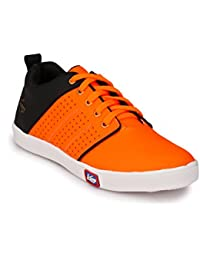 Knoos Men's Synthetic Leather Orange Sneakers (CR-7010-ORGBL)