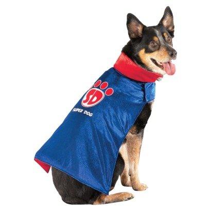Super Dog Costume - Blue Velvet Cape Size Small 5 - 15 Lbs front-832430